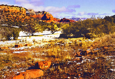 Sedona Winter Painting Art Print by Bob and Nadine Johnston