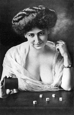Voluptuous Photograph - Seductive Woman Rolls The Dice by Underwood Archives