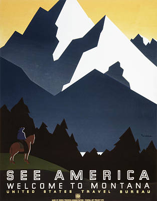 See America - Montana Mountains Art Print by Georgia Fowler