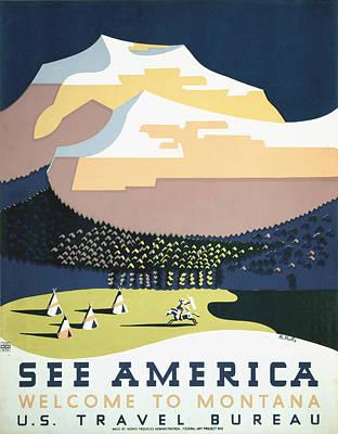 Storm Digital Art - See America - Montana by Georgia Fowler