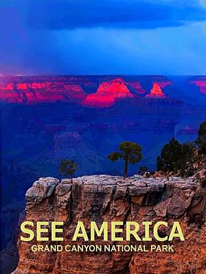 Digital Art - See America - Grand Canyon National Park by Ed Gleichman