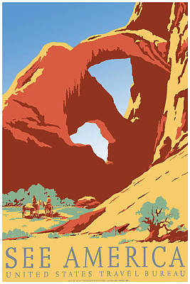 See America Us Travel Bureau Art Print by David Wagner
