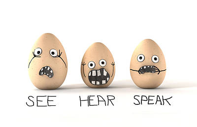 See Hear Speak No Evil Eggs Print by Allan Swart