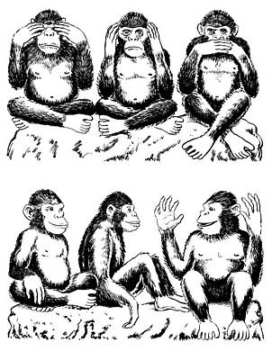 Variation Drawing - See No Evil Hear No Evil Speak No Evil With Variation by Lee Serenethos