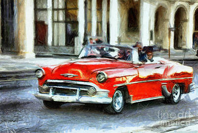 Drawing - See Red - Drive My Car by Daliana Pacuraru
