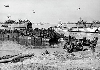 Photograph - Seebee Rhino Ferries On D-day by Underwood Archives