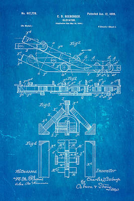 Seeberger Escalator Patent Art 1899 Blueprint Art Print by Ian Monk