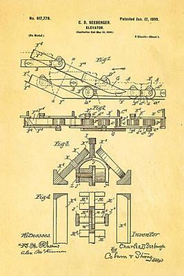 Seeberger Escalator Patent Art 1899 Print by Ian Monk