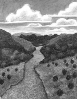 Painting - Seeded Waterway Black And White by Carrie MaKenna