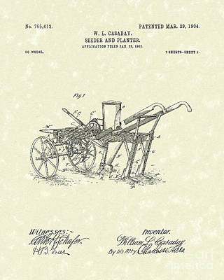 Farming Drawing - Seeder/planter 1904 Patent Art by Prior Art Design