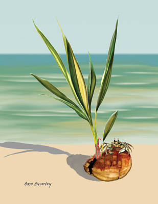 Painting - Seedling Floating Ashore by Anne Beverley-Stamps
