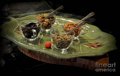 Food And Beverage Photograph - Seeds Nuts And Berries On The Green Platter by Tanya  Searcy