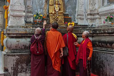 Seeking Blessings Of Budha Print by Mukesh Srivastava