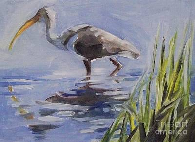 Ibis Painting - Seeking Fish by Mary Hubley