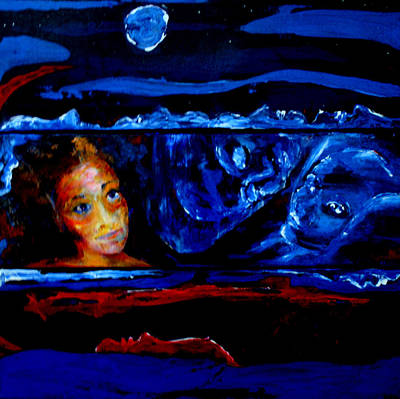 Floating Girl Painting - Seeking Sleep Trilogy by Kathy Peltomaa Lewis