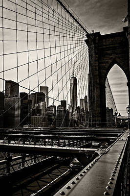 Photograph - Seen Through The Brooklyn Bridge by Madeline Ellis