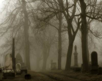 A Graveyard Seeped In Fog Art Print