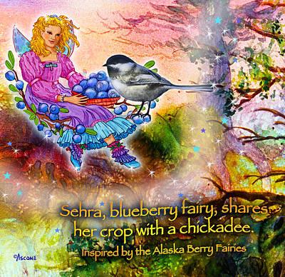 Matanuska Painting - Sehra With A Chickadee by Teresa Ascone