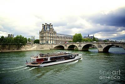 Seine River And Louvre Museum. Paris. France. Art Print by Bernard Jaubert