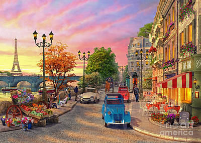 Seine Sunset Art Print by Dominic Davison