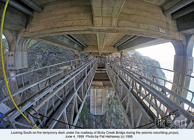 Photograph - Seismic Retrofit Of Bixby Creek Concrete Arch Bridge Big Sur June  4 1999 Pat Hathaway Photo by California Views Archives Mr Pat Hathaway Archives