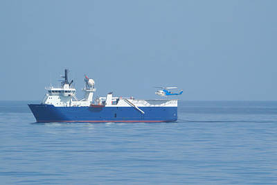Photograph - Seismic Ship And Helicopter by Bradford Martin
