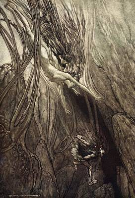 Wagner Drawing - Seize The Despoiler! Rescue The Gold! by Arthur Rackham