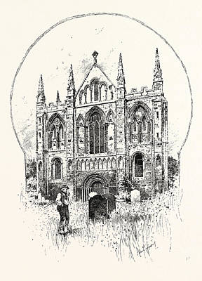 Selby Drawing - Selby The West Front by English School