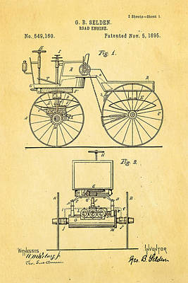 1895 Photograph - Selden Road Engine Patent Art 1895 by Ian Monk