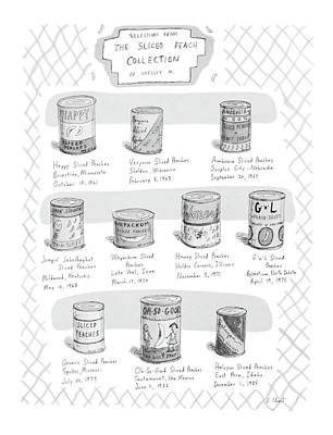 Peaches Drawing - Selections From The Sliced Peach Collection by Roz Chast
