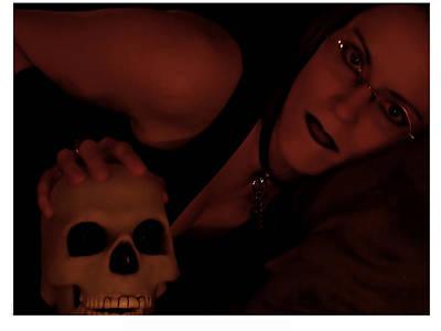 Selena And Skull Face Art Print by Matt Nelson
