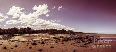 Selenium Toned Rocky Beach Landscape Art Print