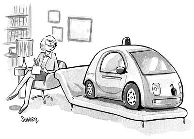 Google Drawing - Self Driving Car In Therapist's Office by Benjamin Schwartz