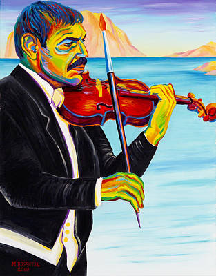 Moshe Painting - Self  Portait  With  Violin by Moshe Rosental