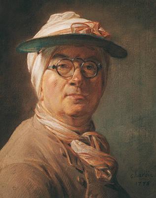 Self Portrait Print by Jean-Baptiste Simeon Chardin