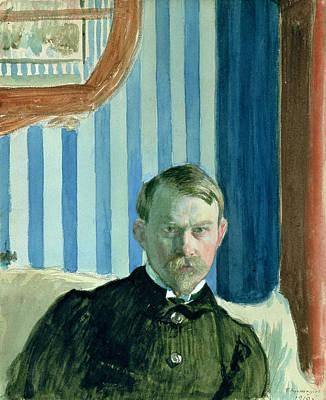 Self Portrait, 1910 Oil On Canvas Art Print by Boris Mihajlovic Kustodiev