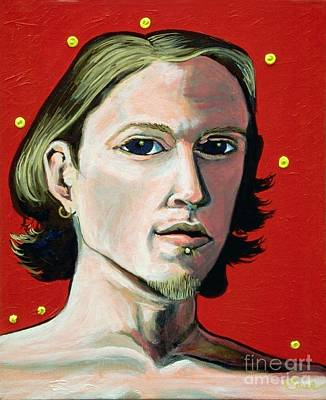 Cadmium Red Painting - Self Portrait 1995 by Feile Case