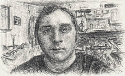 Drawing - Self Portrait 2012 by Michael Morgan