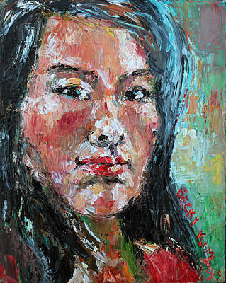 Pallet Knife Painting - Self Portrait 2013 - 1 by Becky Kim
