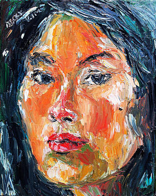 Pallet Knife Painting - Self Portrait 2013 -3 by Becky Kim
