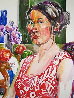 Painting - Self Portrait 9 - With Still Life by Becky Kim