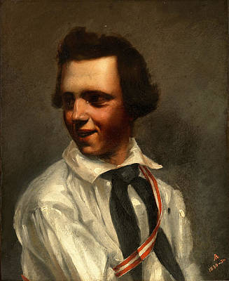 Black Tie Painting - Self-portrait by Albert Ankert