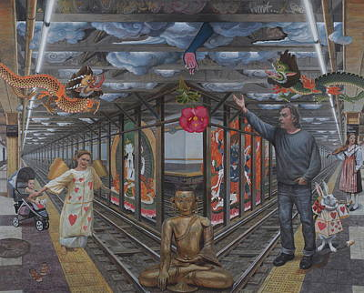 Platform Painting - Self Portrait At 14th Street Station by Alfredo Arcia