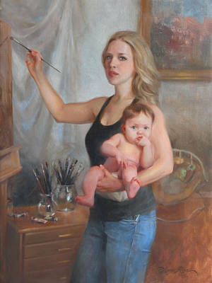 Woman And Baby Painting - Self Portrait At 29 by Anna Rose Bain