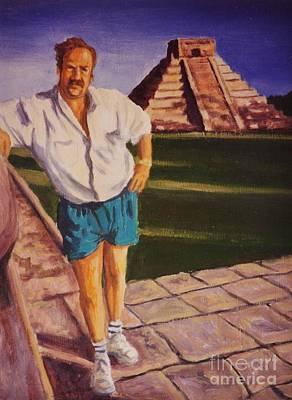 Chichen Itza Painting - Self Portrait At Chichen Itza by John Malone