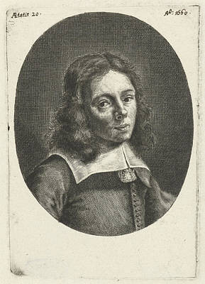 Self-portrait Drawing - Self-portrait At The Age Of 20, Hendrik Bary by Hendrik Bary