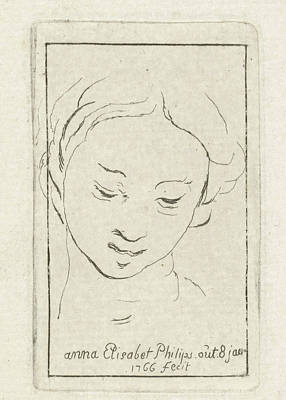 Self-portrait Drawing - Self-portrait At The Age Of 8, Print Maker Anna Elisabeth by Anna Elisabeth Philips
