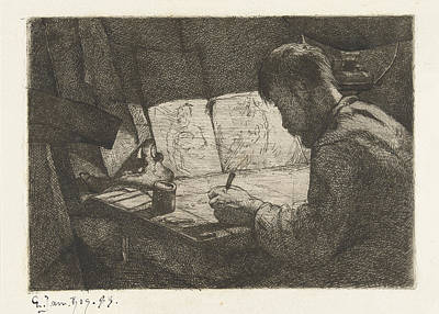 Self-portrait Drawing - Self Portrait At The Drawing Board, Gerard Jan Bos by Quint Lox