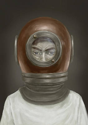 Diving Helmet Digital Art - Self Portrait by Balazs Solti