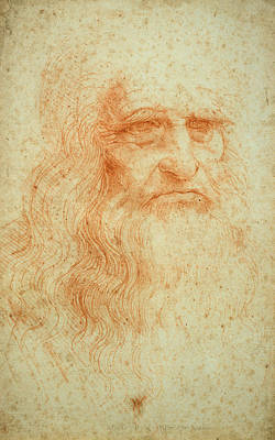 Pen And Ink Drawing Drawing - Self Portrait by Leonardo da Vinci